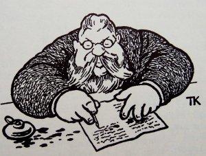 ORIGINALEN: Redaktør Syversen styrte opprinnelig Trangviksposten (et sted mellom Horten og Kristiansand) i årene 1899 til 1907. Illustrasjon: Theodor Kittelsen / Wikipedia