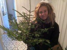 JULEBUSK: Elene og Ginny snublet nærmest over dette lille juletreet, som var ferdig kappet og klart i veikanten. Foto: Rune S. Alexandersen