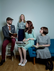 MODELLER FOR EN DAG: Rune, Ingrid, Elene og Hanne. Foto: Anita Arntzen
